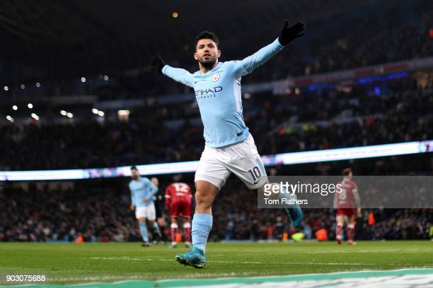 Sergio Aguero of Manchester City celebrates as he scores their second goal during the Carabao Cup SemiFinal First Leg match between Manchester City...