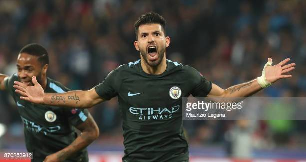 Sergio Aguero of Manchester City celebrates during the UEFA Champions League group F match between SSC Napoli and Manchester City at Stadio San Paolo...