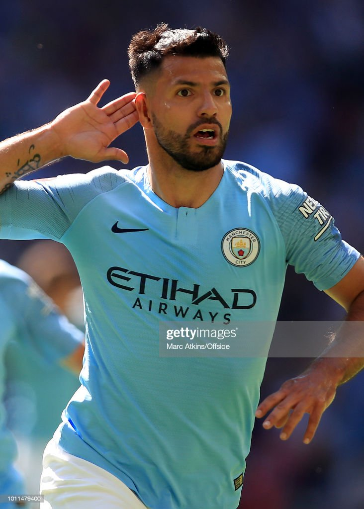 Sergio Aguero of Manchester City celebrates his 1st goal during the FA Community Shield between Manchester City and Chelsea at Wembley Stadium on August 5, 2018 in London, England.