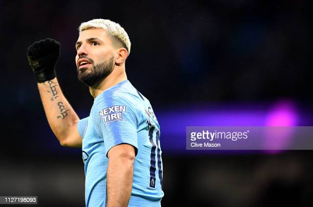 Sergio Aguero of Manchester City celebrates his first goal during the Premier League match between Manchester City and Arsenal FC at Etihad Stadium...