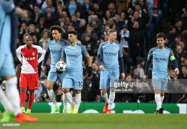 Sergio Aguero of Manchester City celebrates his goal with Leroy Sane Kevin De Bruyne and David Silva of Manchester City during the UEFA Champions...