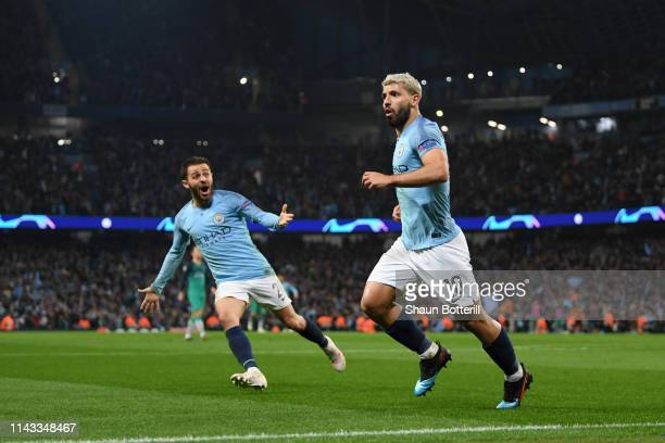 Sergio Aguero of Manchester City celebrates his team's fourth goal during the UEFA Champions League Quarter Final second leg match between Manchester...