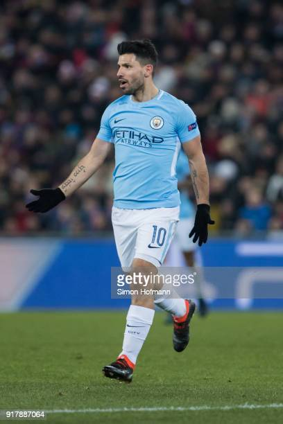 Sergio Aguero of Manchester City celebrates his team's third goal during the UEFA Champions League Round of 16 First Leg match between FC Basel and...