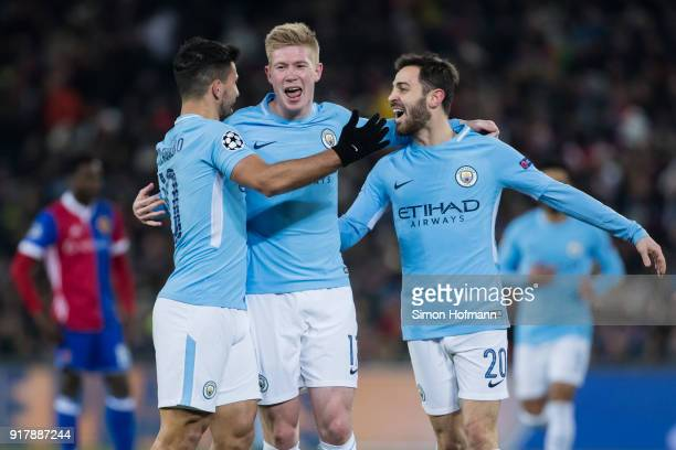 Sergio Aguero of Manchester City celebrates his team's third goal with team mates Kevin De Bruyne and Bernardo Silva during the UEFA Champions League...