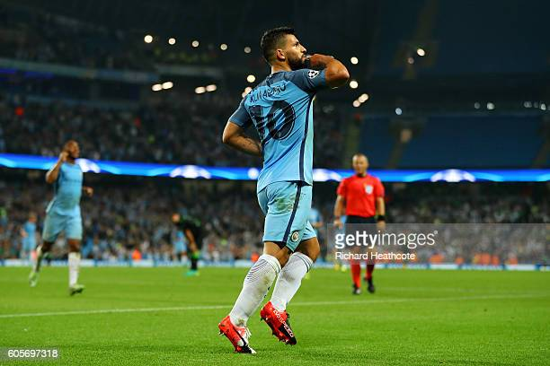 Sergio Aguero of Manchester City celebrates his third during the UEFA Champions League match between Manchester City FC and VfL Borussia...