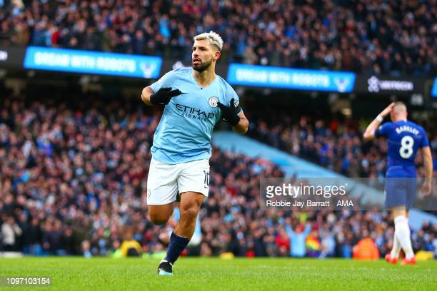 Sergio Aguero of Manchester City celebrates scoring a goal to make it 20 during the Premier League match between Manchester City and Chelsea FC at...