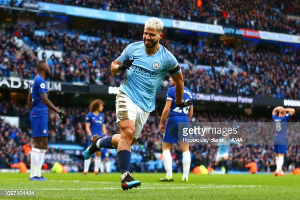 Sergio Aguero of Manchester City celebrates scoring a goal to make it 30 during the Premier League match between Manchester City and Chelsea FC at...