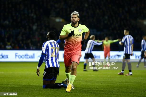 Sergio Aguero of Manchester City celebrates scoring a goal to make it 1-0 during the FA Cup Fifth Round match between Sheffield Wednesday and...