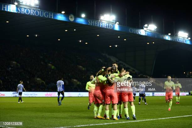 Sergio Aguero of Manchester City celebrates scoring a goal to make it 10 during the FA Cup Fifth Round match between Sheffield Wednesday and...