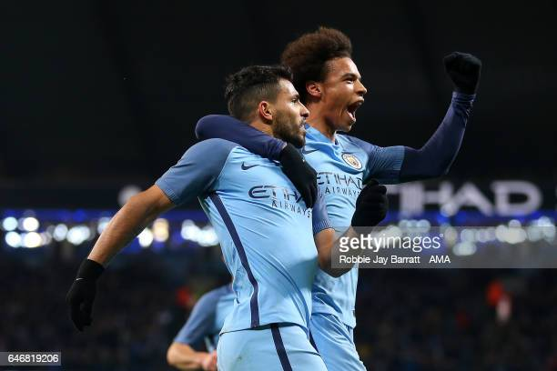 Sergio Aguero of Manchester City celebrates scoring a goal to make the score 2-1 with team mate Leroy Sane during the Emirates FA Cup Fifth Round...