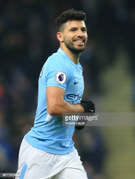 Sergio Aguero of Manchester City celebrates scoring a penalty his side's second goal during the Premier League match between Manchester City and...