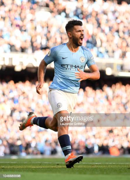 Sergio Aguero of Manchester City celebrates scoring during the Premier League match between Manchester City and Brighton Hove Albion at Etihad...