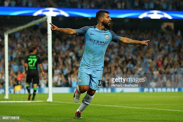 Sergio Aguero of Manchester City celebrates scoring during the UEFA Champions League match between Manchester City FC and VfL Borussia...