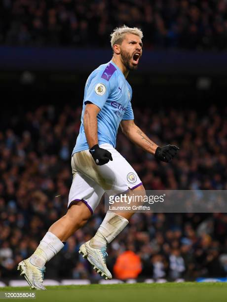 Sergio Aguero of Manchester City celebrates scoring his first goal during the Premier League match between Manchester City and Crystal Palace at...