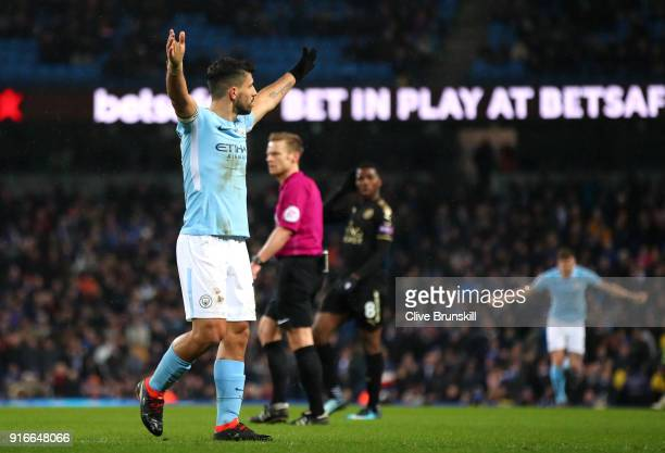Sergio Aguero of Manchester City celebrates scoring his fourth goal his side's fifth during the Premier League match between Manchester City and...