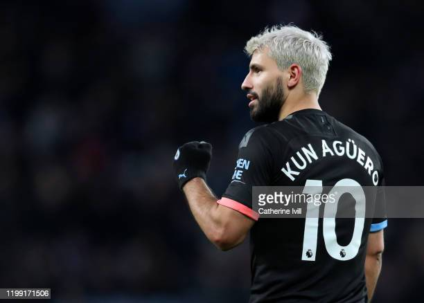 Sergio Aguero of Manchester CIty celebrates scoring his hat-trick and his sides sixth goal during the Premier League match between Aston Villa and...
