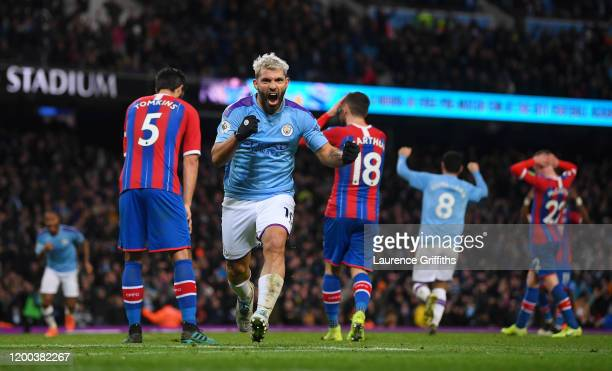 Sergio Aguero of Manchester City celebrates scoring his second goal during the Premier League match between Manchester City and Crystal Palace at...