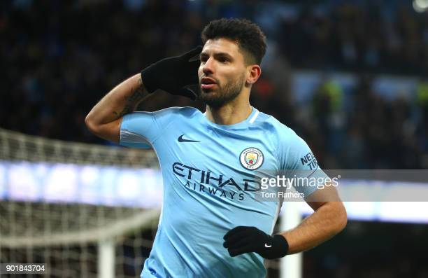 Sergio Aguero of Manchester City celebrates scoring his second goal during The Emirates FA Cup Third Round match between Manchester City and Burnley...