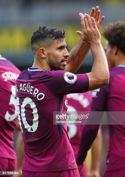 Sergio Aguero of Manchester City celebrates scoring his sides fifth goal during the Premier League match between Watford and Manchester City at...