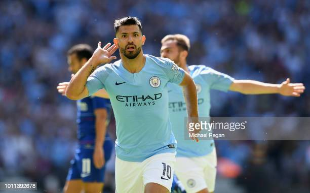 Sergio Aguero of Manchester City celebrates scoring his side's first goal during the FA Community Shield between Manchester City and Chelsea at...
