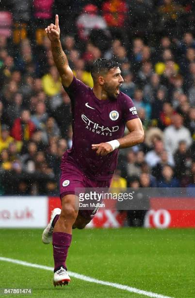Sergio Aguero of Manchester City celebrates scoring his sides first goal during the Premier League match between Watford and Manchester City at...