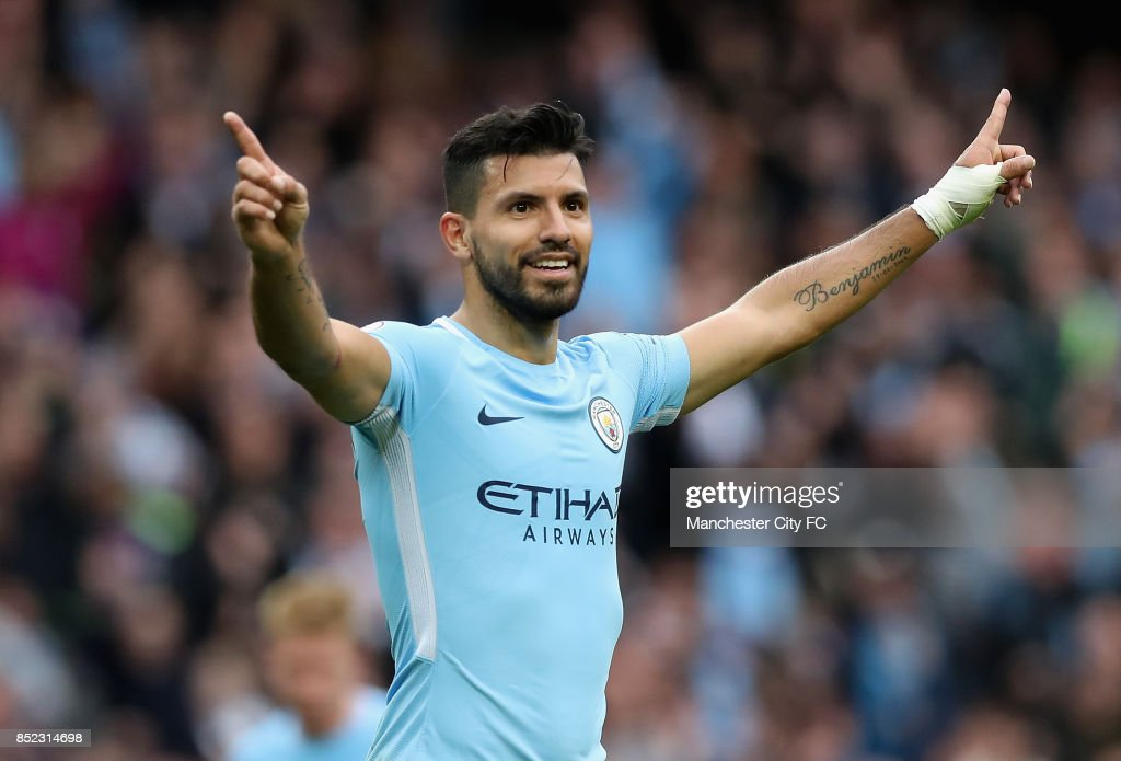Sergio Aguero of Manchester City celebrates scoring his sides fourth goal during the Premier League match between Manchester City and Crystal Palace at Etihad Stadium on September 23, 2017 in Manchester, England.