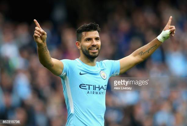 Sergio Aguero of Manchester City celebrates scoring his sides fourth goal during the Premier League match between Manchester City and Crystal Palace...
