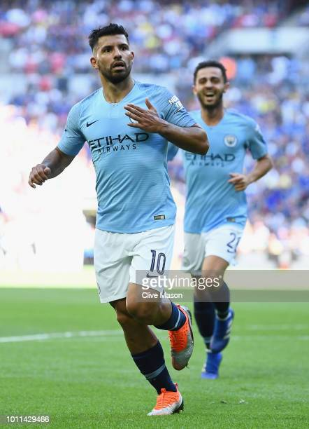 Sergio Aguero of Manchester City celebrates scoring his side's second goal during the FA Community Shield between Manchester City and Chelsea at...