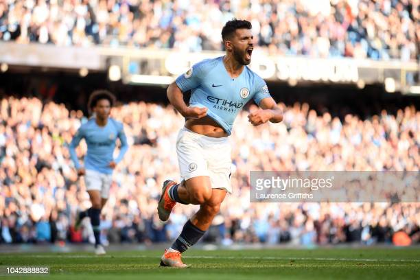 Sergio Aguero of Manchester City celebrates scoring his sides second goal during the Premier League match between Manchester City and Brighton Hove...