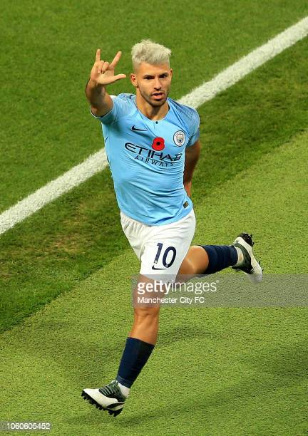 Sergio Aguero of Manchester City celebrates scoring his sides' second goal during the Premier League match between Manchester City and Manchester...