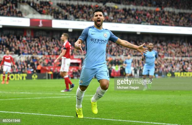 Sergio Aguero of Manchester City celebrates scoring his sides second goal during The Emirates FA Cup QuarterFinal match between Middlesbrough and...