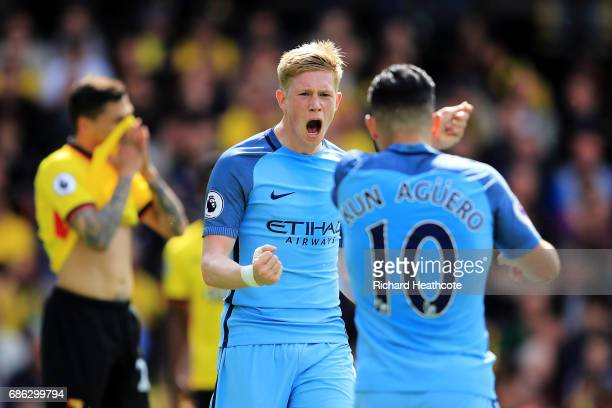 Sergio Aguero of Manchester City celebrates scoring his sides second goal with Kevin De Bruyne of Manchester City during the Premier League match...