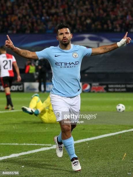 Sergio Aguero of Manchester City celebrates scoring his sides second goal during the UEFA Champions League group F match between Feyenoord and...
