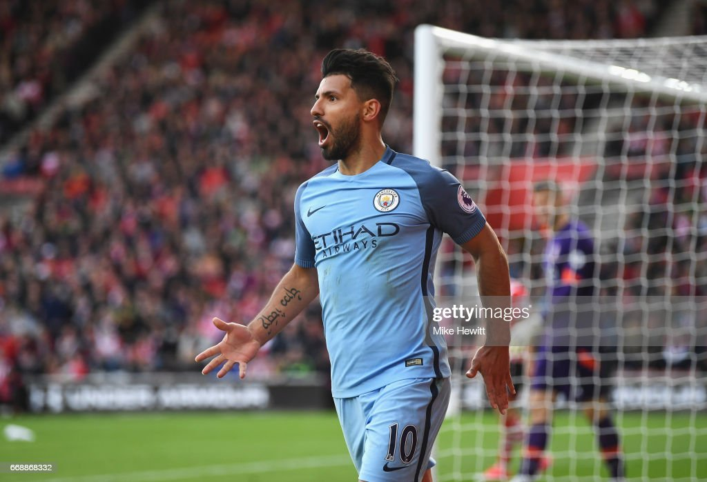 Sergio Aguero of Manchester City celebrates scoring his sides third goal during the Premier League match between Southampton and Manchester City at St Mary's Stadium on April 15, 2017 in Southampton, England.