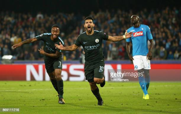 Sergio Aguero of Manchester City celebrates scoring his sides third goal during the UEFA Champions League group F match between SSC Napoli and...