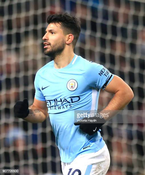 Sergio Aguero of Manchester City celebrates scoring his side's third goal during the Premier League match between Manchester City and Newcastle...