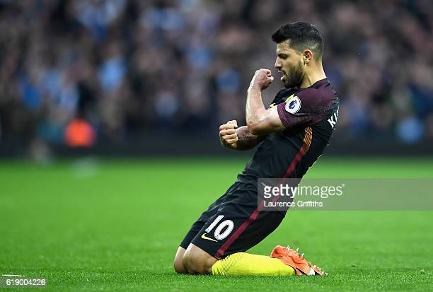 Sergio Aguero of Manchester City celebrates scoring his team's second goal during the Premier League match between West Bromwich Albion and...