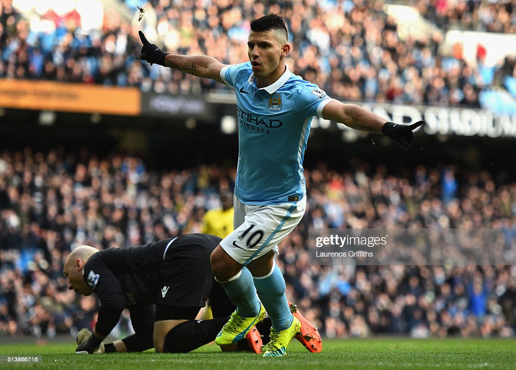 Sergio Aguero of Manchester City celebrates scoring his team's third goal during the Barclays Premier League match between Manchester City and Aston Villa at Etihad Stadium on March 5, 2016 in Manchester, England.