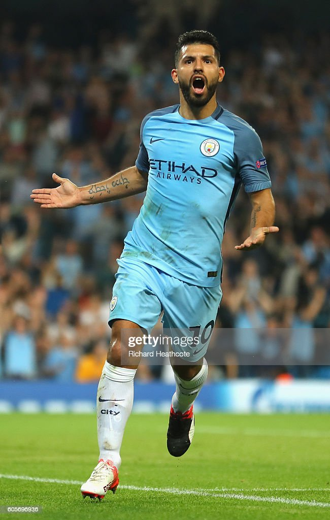 Sergio Aguero of Manchester City celebrates scoring his third during the UEFA Champions League match between Manchester City FC and VfL Borussia Moenchengladbach at Etihad Stadium on September 14, 2016 in Manchester, England.