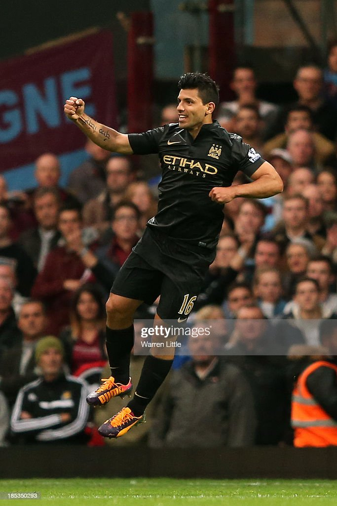 Sergio Aguero of Manchester City celebrates scoring the opening goal during the Barclays Premier League match between West Ham United and Manchester City at Boleyn Ground on October 19, 2013 in London, England.