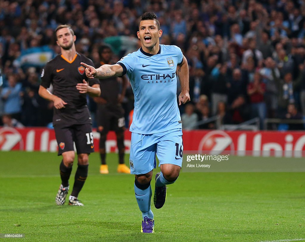 Sergio Aguero of Manchester City celebrates scoring the opening goal from a penalty kick during the UEFA Champions League Group E match between Manchester City FC and AS Roma on September 30, 2014 in Manchester, United Kingdom.