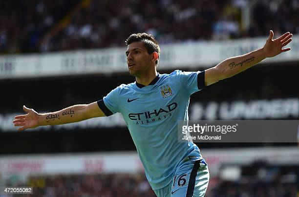 Sergio Aguero of Manchester City celebrates scoring the opening goal during the Barclays Premier League match between Tottenham Hotspur and...