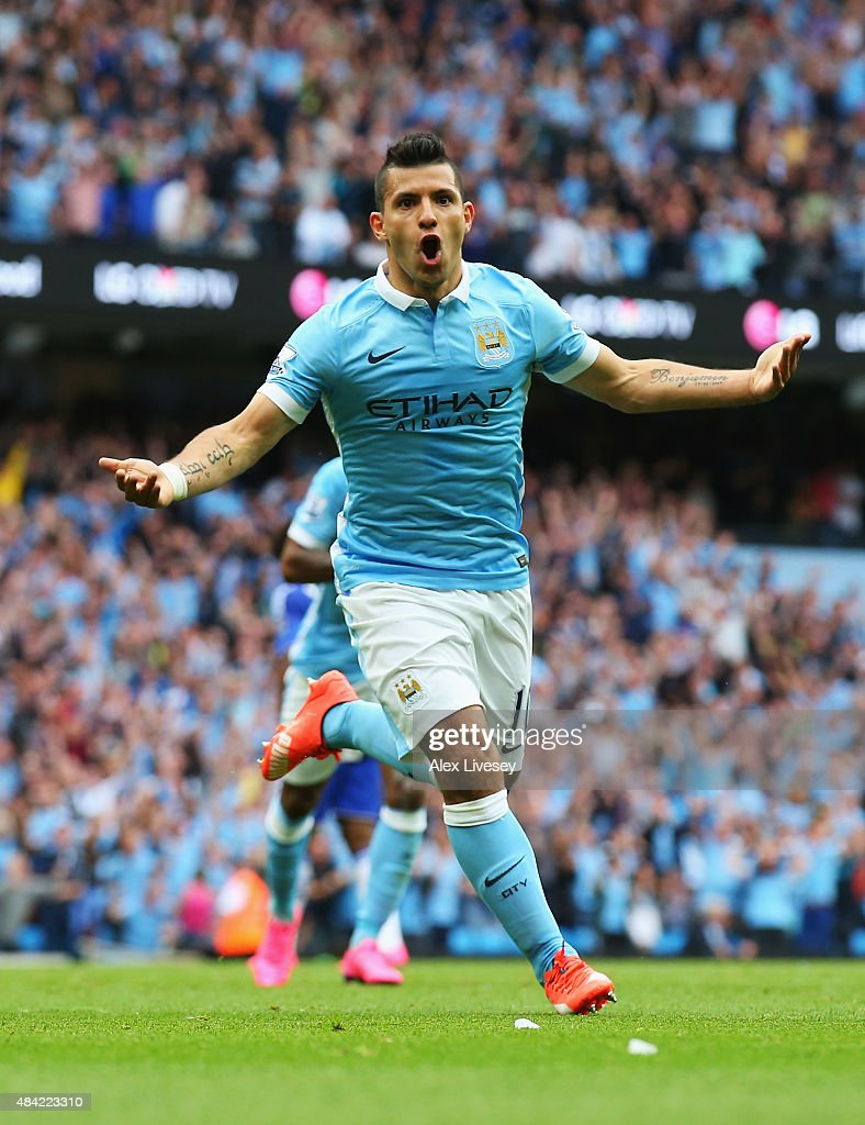Sergio Aguero of Manchester City celebrates scoring the opening goal during the Barclays Premier League match between Manchester City and Chelsea at the Etihad Stadium on August 16, 2015 in Manchester, England.