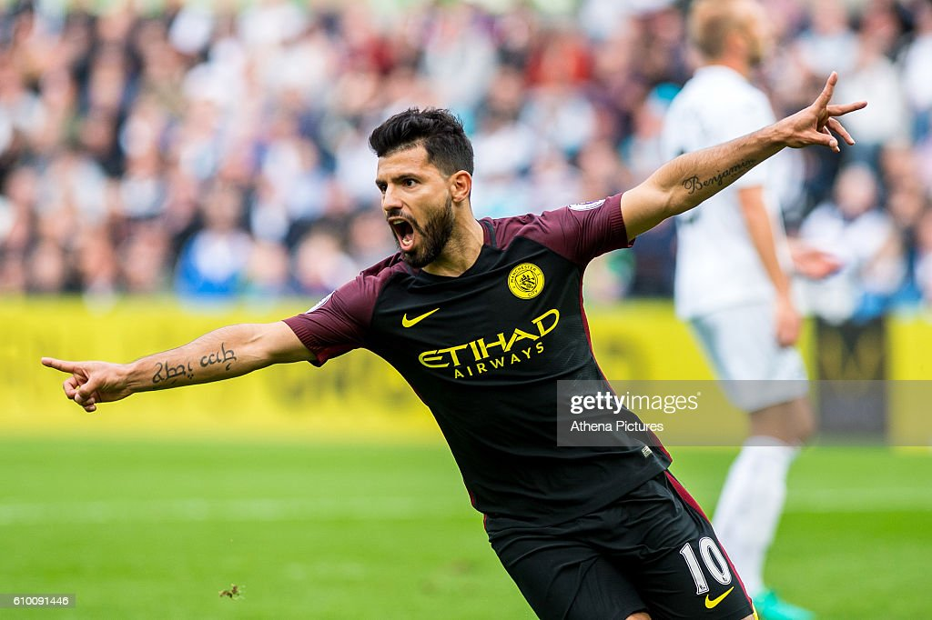 Sergio Aguero of Manchester City celebrates scoring the opening goal during the Premier League match between Swansea City and Manchester City at The Liberty Stadium on September 24, 2016 in Swansea, Wales.