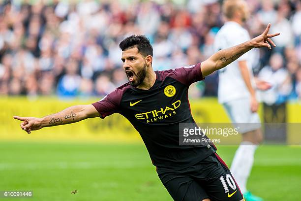 Sergio Aguero of Manchester City celebrates scoring the opening goal during the Premier League match between Swansea City and Manchester City at The...