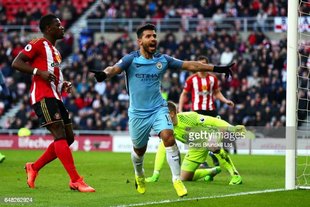 Sergio Aguero of Manchester City celebrates scoring the opening goal during the Premier League match between Sunderland and Manchester City at...