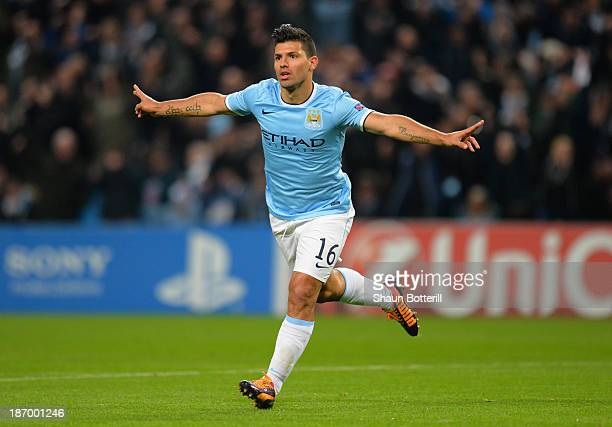 Sergio Aguero of Manchester City celebrates scoring the second goal during the UEFA Champions League Group D match between Manchester City and CSKA...