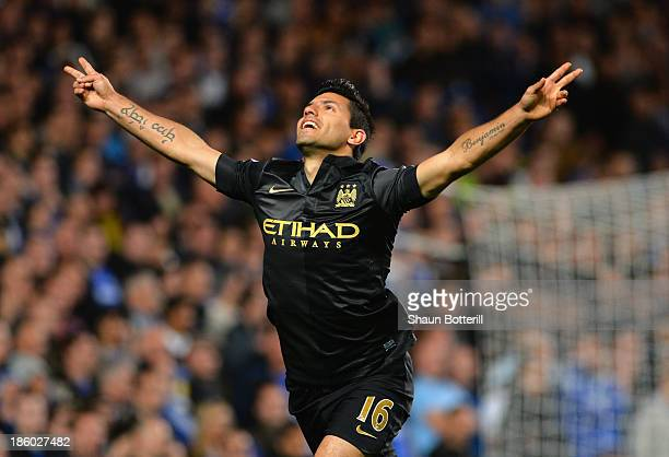 Sergio Aguero of Manchester City celebrates scoring their first goal during the Barclays Premier League match between Chelsea and Manchester City at...
