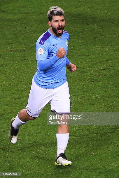 Sergio Aguero of Manchester City celebrates the goal of Kevin De Bruyne of Manchester City during the Premier League match between Manchester City...