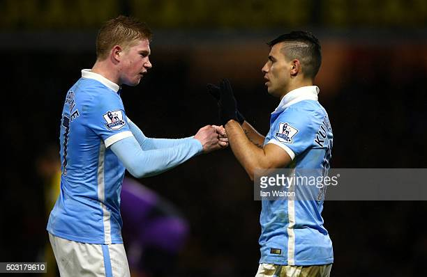 Sergio Aguero of Manchester City celebrates with Kevin de Bruyne of Manchester City after scoring his side's second goal during the Barclays Premier...